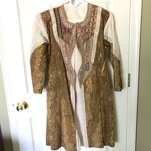 White and Gold Cotton Indian Dress